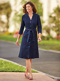 Denim Mandarin Collar Dress