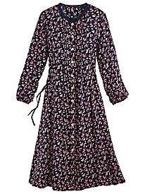 Lace Trim Printed Challis Dress