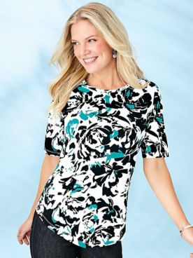 Elbow Sleeve V-Hemline Tee
