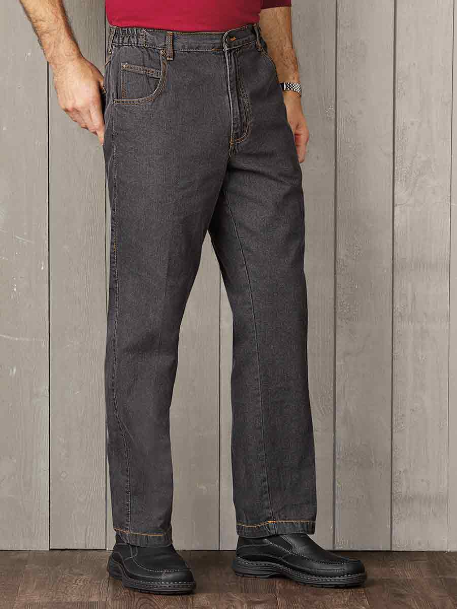 /& elastic waist Jean Color WOMENS Stretch Pants W// permanent creased pant legs