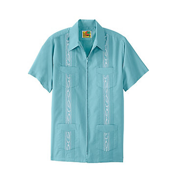 9b90c019d Zip Guayabera Shirt. Palm-Print Guayabera Shirt. Batik Print Hawaiian Shirt