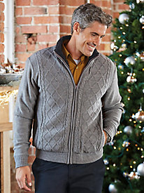 Men's Vintage Style Sweaters – 1920s to 1960s Zip-Front Sweater Jacket $35.99 AT vintagedancer.com