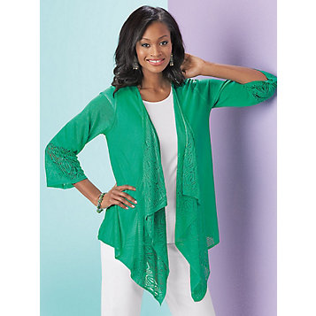 75ee04aee55 Mixed-Stitch Cascade Cardigan. Item Number  B06