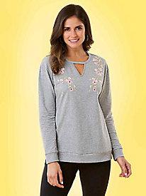 616c3bfb15a Embroidered Fleece Sweatshirt
