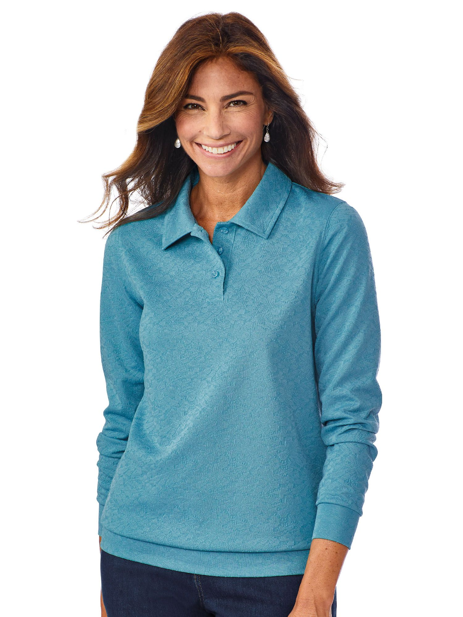Haband Womens Banded Bottom Textured Polo