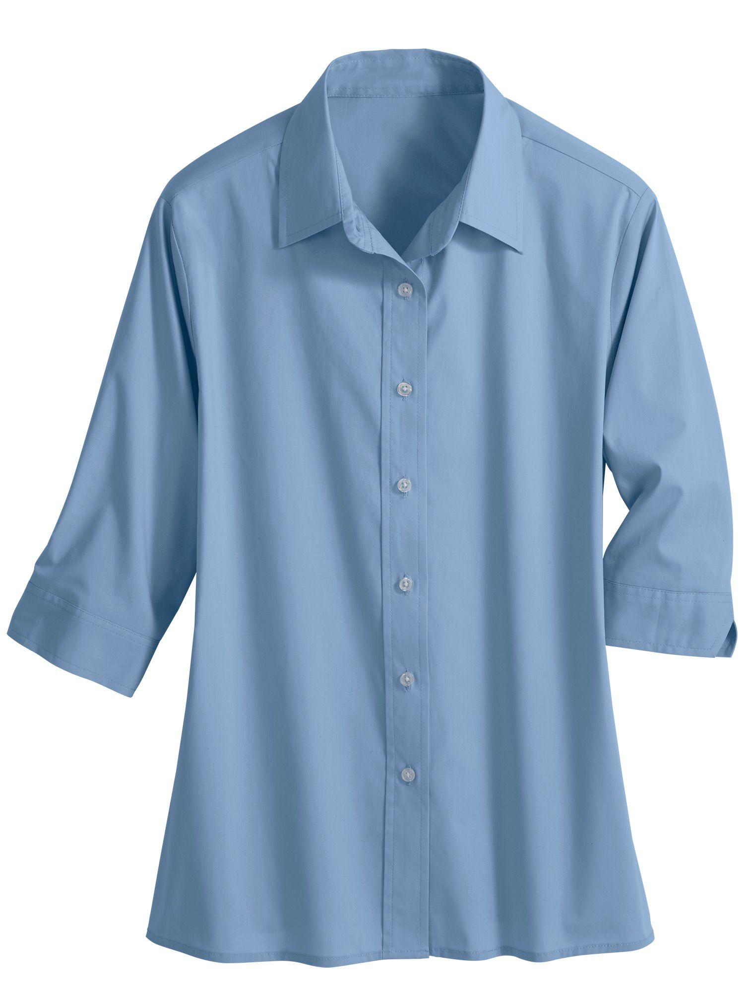 64a56b960d 3/4-Sleeve Poplin Blouse
