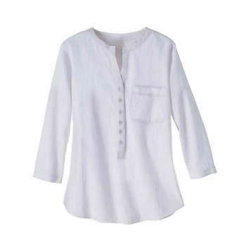 bef3d111f28 Haband - Soft Split Neck Tunic with Roll Tab Sleeves