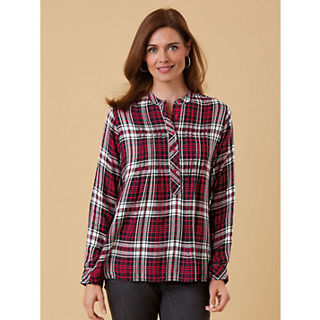 42c902428d2 Haband - Yarn-Dyed Flannel Pintuck Tunic