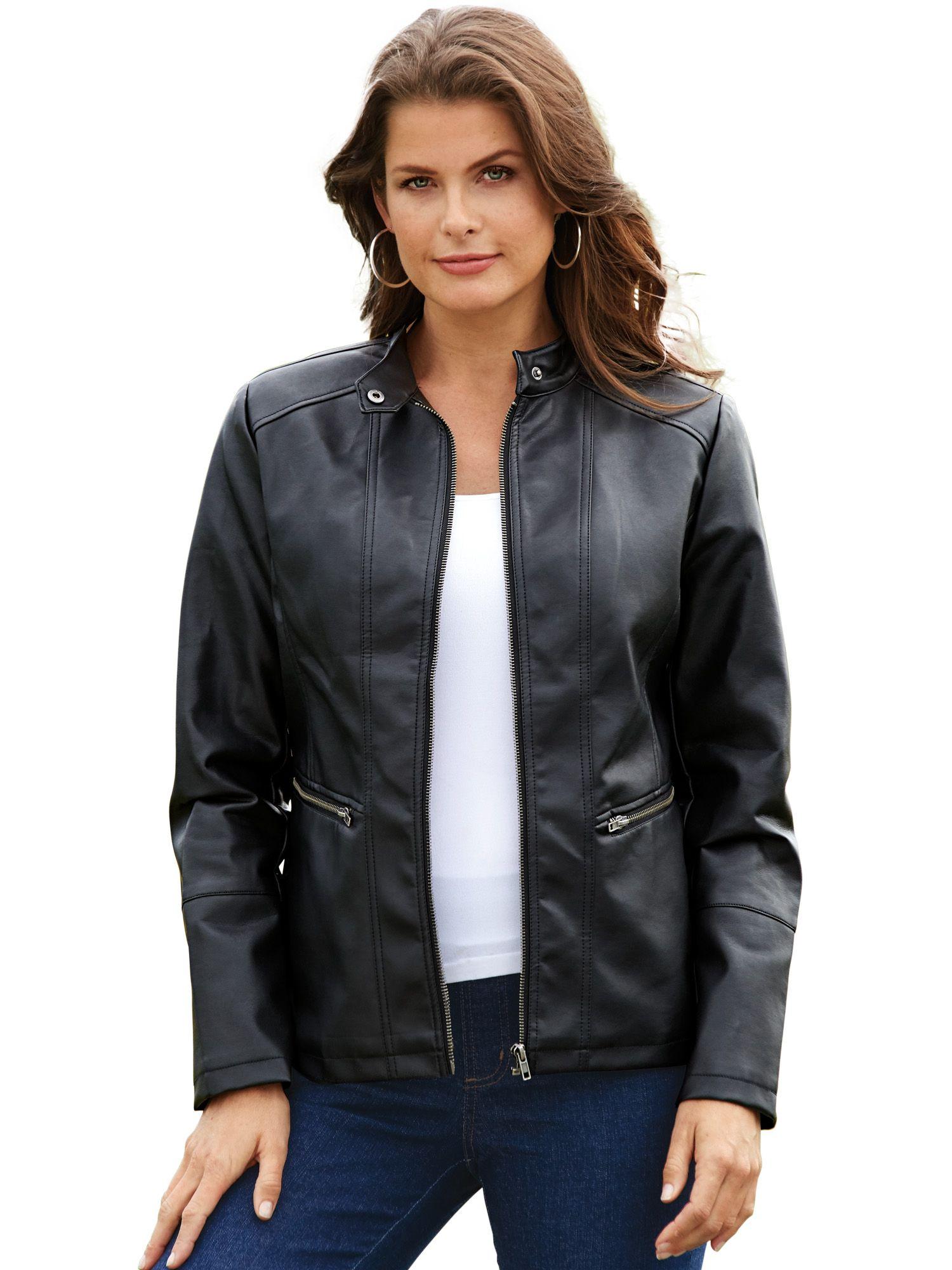 Haband - Women's Faux Leather Moto Jacket