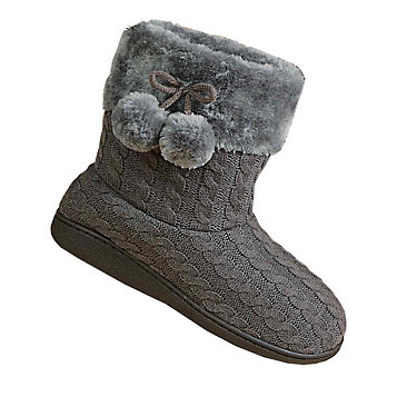 Haband Goldtoe Cable Knit Bootie Slippers