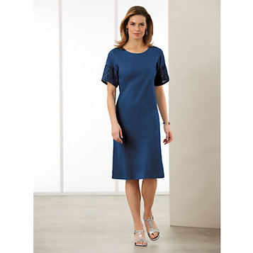 fbec22f6c5 Luxe Cotton Knit Dress with Flounce Sleeves. Item Number  G1P