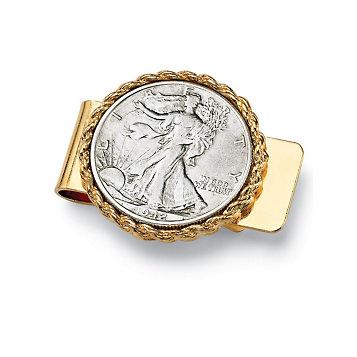 Men's Commemorative Genuine Half Dollar Money Clip in Yellow gold tone