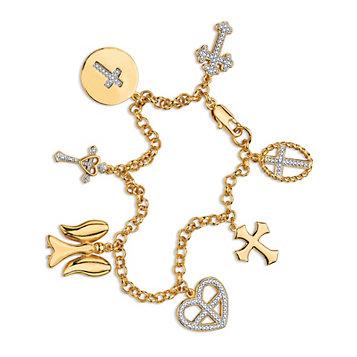 Diamond Accent Cross Charm Bracelet