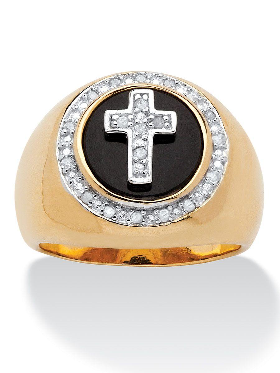 1a4a8381d5b03 Men's Diamond and Black Onyx Halo Cross Ring