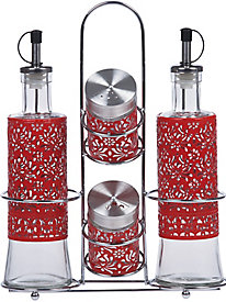 Red 5 pc. Glass Condiment Set with Stainless Steel Rack