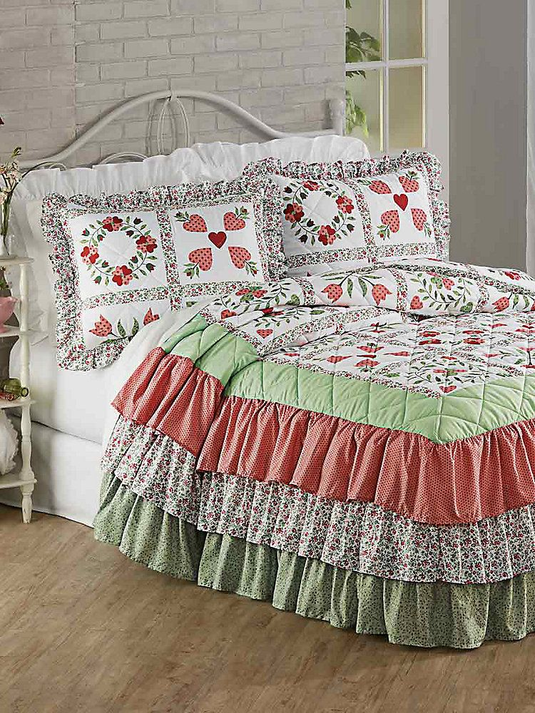 Bedspreads.Tiered Ruffle Quilted Bedspread