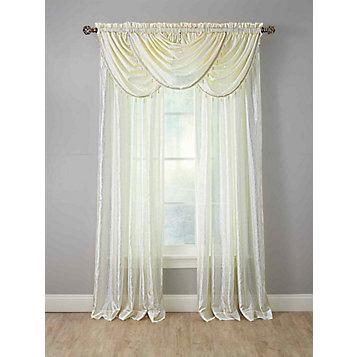 Whisper Crushed Satin Window Curtains - Waterfall Window Valance With Bead  Trim