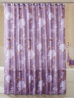 Peony Print Fabric Shower Curtain With 12 Hooks