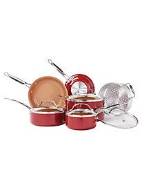 Red Copper 10-PC Nonstick Ceramic Cookware Set by Gold Violin