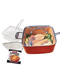 Red Copper Deep Square Pan with Accessories by Gold Violin