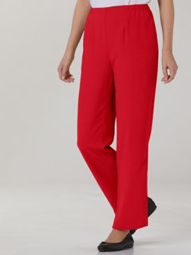 Textured Stretch Crepe Straight Leg Pull-On Pants