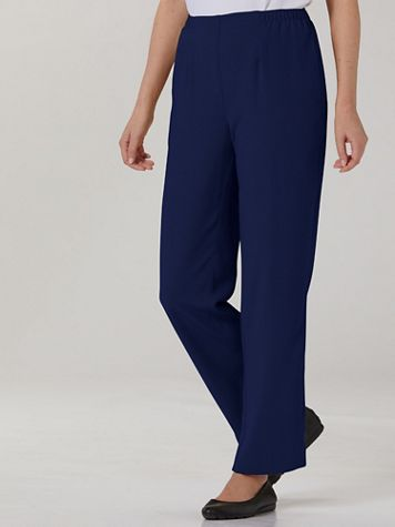 Textured Stretch Crepe Straight Leg Pull-On Pants - Image 1 of 6