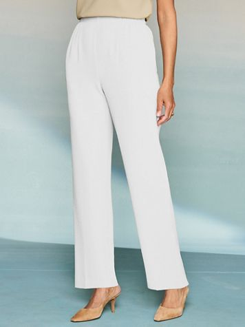 Textured Stretch Crepe Straight Leg Pull-On Pants - Image 1 of 7