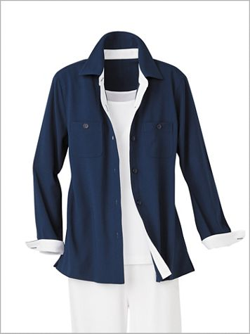 Textured Stretch Crepe Big Shirt - Image 3 of 3