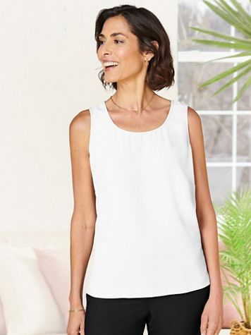 Textured Stretch Crepe Tank Top - Image 1 of 12