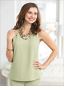 Textured Stretch Crepe Tank