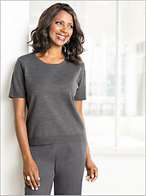 Soft Spun® Short Sleeve Jewel Neck Sweater