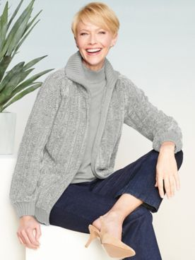 Chenille Zip-Front Long Sleeve Sweater Jacket