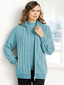 Chenille Zip-Front Sweater Jacket