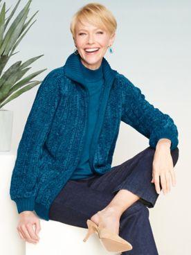 Chenille Sweater Jacket & Slimtacular® Denim Slim Leg Pants