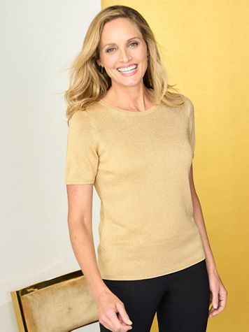 Shimmer Jewel Neck Short Sleeve Sweater