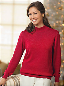Long Sleeve Mock Neck Shimmer Sweater