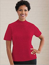 Short Sleeve Mock Neck Shimmer Sweater