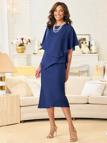 Special Occasion Bias Tiered Two Piece Georgette Dress - Image 1 of 12