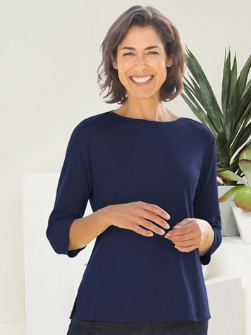 Basic Boatneck Cotton Poly 3/4 Sleeve Tee - Image 1 of 21