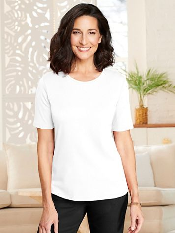 Essential Jewel Neck Short Sleeve Tee - Image 1 of 21