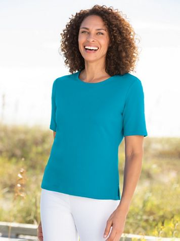 Essential Jewel Neck Short Sleeve Tee - Image 1 of 17