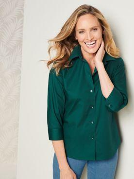 Foxcroft Wrinkle-Free Solid 3/4 Sleeve Shirt