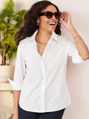 Foxcroft Wrinkle-Free Solid 3/4 Sleeve Shirt - Image 1 of 9