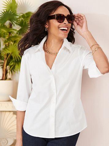 Foxcroft Wrinkle-Free Solid 3/4 Sleeve Shirt - Image 1 of 9