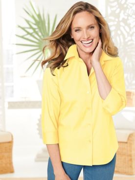 Foxcroft Wrinkle-Free Solid 3/4 Sleeve Shirt