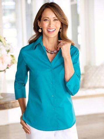 Foxcroft Wrinkle-Free Solid 3/4 Sleeve Shirt - Image 1 of 8