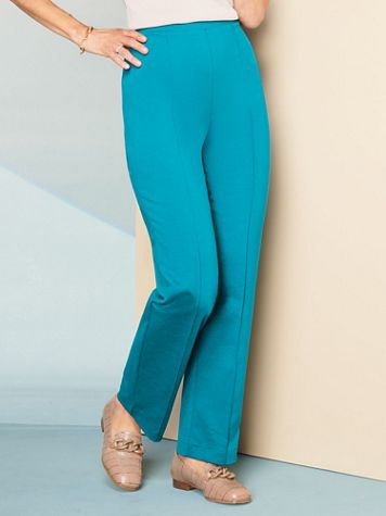Ponte Stitched Crease Straight Leg Pull-On Pants