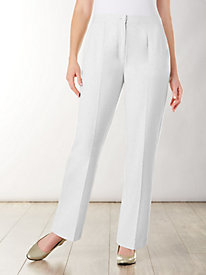 Look-Of-Linen Zip-front Pants