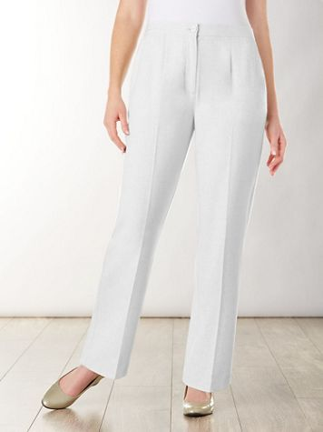Look-Of-Linen Straight Leg Zip-Front Pants - Image 1 of 6