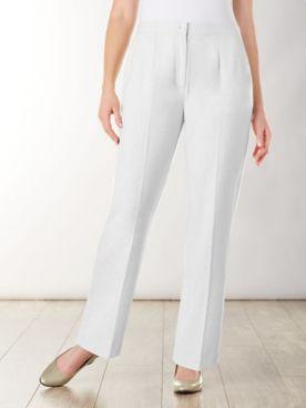 Look-Of-Linen Straight Leg Zip-Front Pants